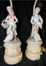 Two Vintage Bisque Figurines on Spelter Base Lamps, 18 1/2