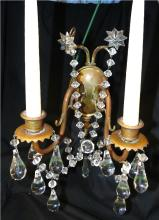 Antique Pair of Crystal Drop Candle Wall Sconces, 12