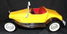 1960's NyLint Model-T Roadster Yellow Car with Rumble Seat, 10