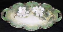 RS Germany Celery Dish Pearlized Green and White, 12 1/4