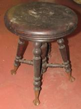 Glass Ball and Claw Vintage Piano Stool, 17 1/2