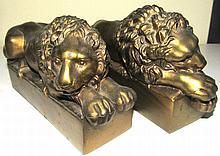 Lion Brass Bronze Metal Bookend Circa 1920 Marked Antonio Canova 1757-1822, 7 1/2