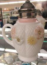 Antique Cosmos Milk Glass Puffy Floral  Syrup Pitcher,  19th Century, Complete, EC