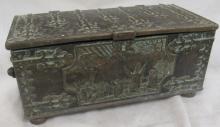 Antique Denmark Iron Art Bronzed Box Battle of Lyndanisse, 3 1/4