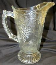 1800's Antique Pattern Glass Panelled Grape Pitcher, 9 1/2