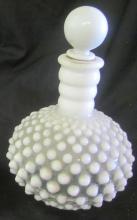 Vintage Fenton Opalescent White Hobnail Art Glass Cruet, 6 1/2