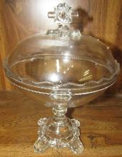 Antique Adams & Co Ashman Tall Covered Compote Pattern Glass 1886,8 1/2