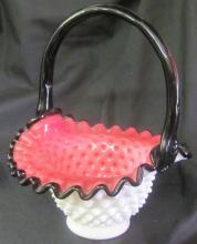 Fenton Black Handle Hobnail Case Glass Basket, Cranberry Interior, White Exterior, Signed Frank Fenton, 9