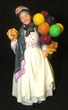 Royal Doulton Biddy Pennyfarthing Figurine HN1843 Old Woman w Balloons & Flowers, EC