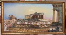 Outstanding Authentic Greek Painting of the Parthenon, Athens Greece, 40 x 22, EC