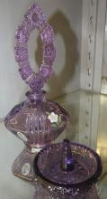 Fenton Art Glass Handpainted Signed Purple Perfume Bottle with Stopper and Matching Ring Holder, EC with Box