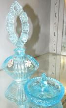Fenton Art Glass Handpainted Signed Blue Perfume Bottle with Stopper and Matching Ring Holder, EC with Box