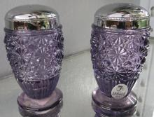 Fenton Daisy & Button Amethyst Glass Salt & Pepper Shakers Metal Tops, 3