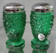 Fenton Daisy & Button Emerald Green Glass Salt & Pepper Shakers Metal Tops, 3