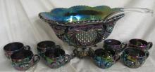 Fenton Amethyst Carnival Punch Bowl with Metal Stand and Eight Cups, EC
