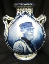 Delph Germany Hand Painted Portrait Teo Handle Jug/Vase, 7 1/2