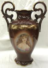 Antique Schumann Arzberg Germany Hand Painted Portrait Vase, 14