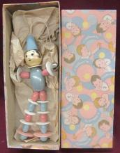 Vintage Stahlwood Wooden Baby Doll with Bells and Original Box, MIB, 9
