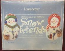 Longaberger Pottery Snow Friends 1999 Cookie Molds, MIB