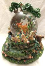 RARE Disney  Musical & Moving Snowglobe Bambi & Forest Friends, 9
