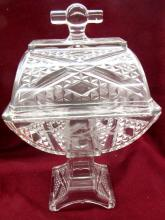 Antique Adams & Co Ashman Tall Covered Compote Pattern Etched Glass 1886, 12