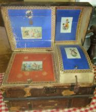 Extremely RARE Child's Hump Back Trunk with all Wallpaper and Compartments