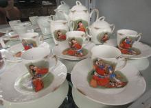 13 Pcs. Antique Germany Child's Tea Set, EC