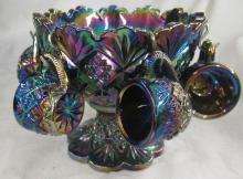 Amethyst Carnival Glass Miniature Punch Bowl, 4 1/4