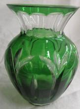 Bohemian Czech Green Cut Back to Clear Crystal Glass Overlay Vase, 5