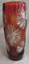 Vintage Vase Poland Bohemian Glass Cranberry Ruby Red Cut to Clear Glass 12