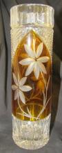 Vintage Gold amber Cut to Clear Bohemian Czech crystal vase, 10
