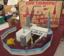 Vintage 1950's Marx Atomic Cape Canaveral Missle Base Play Set with Box, Few small pieces missing, EC