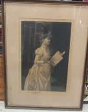 Antique Framed Artist Signed Etching of a Soloist, 16 x 20, VGC