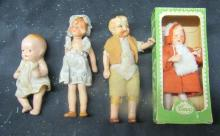 Four Vintage Dollhouse Doll People Caco Germany, One MIB, 4