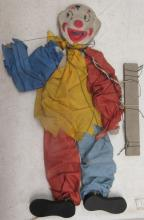 Antique Clown Marionette, Wooden Head and Feet, Cardboard Body, 13