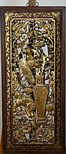 19th Century, a gold painted carved wood panel with vase and auspicious emblems ( in pairs )