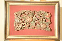 Late 19th Century polychrome wood carving with birds and flowers, framed