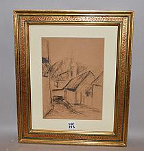 """Ottone Rosai(Italian 1895-1957) village street, ink on paper, signed and dated '54, image size 10 ½ x 7 ½"""""""