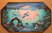 Key West Artist Ray Rolston oil on canvas, Florida School Nautical Scene, 41