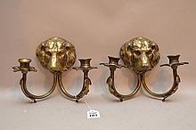 Pair Figural Bronze Two Light Sconces.  Condition: good. Ht. 8