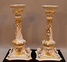 Pair Royal Crown Derby Porcelain Candlesticks.  Golden Aves pattern. Condition: good. Ht. 10 3/4