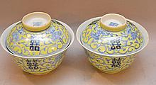 Pair Chinese Porcelain Rice Bowls and covers.  Condition: one has a repaired chip on the rim.