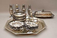 Sterling lot, incl; 7 salt and peppers, 8ozt, 8 mini bowls, 9ozt, covered butter dish, 5ozt, fancy tray, 13ozt, 4 ashtrays, 35ozt (not including ash trays)