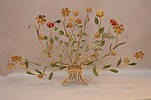 Single vintage floral electrified metal wall sconce