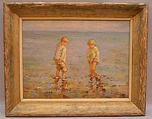 Jean Lefort (French, b. 1948), oil on panel, Children on the beach, 12