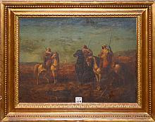 Adolf Schreyer (GERMAN, 1828-1899) oil on panel with cradle back, signed lower left,