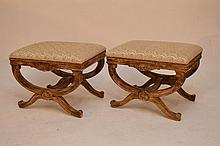 Pair of decorative stools, upholstered tops