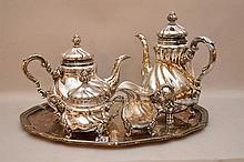 5 pc, German silver tea service