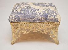 Antique iron frame foot stool with toile fabric