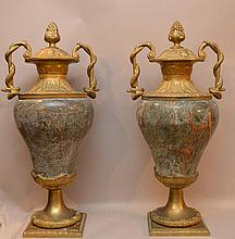 Pair Large Bronze & Marble Urns.  Condition: minor normal wear.  Ht. 27 1/2